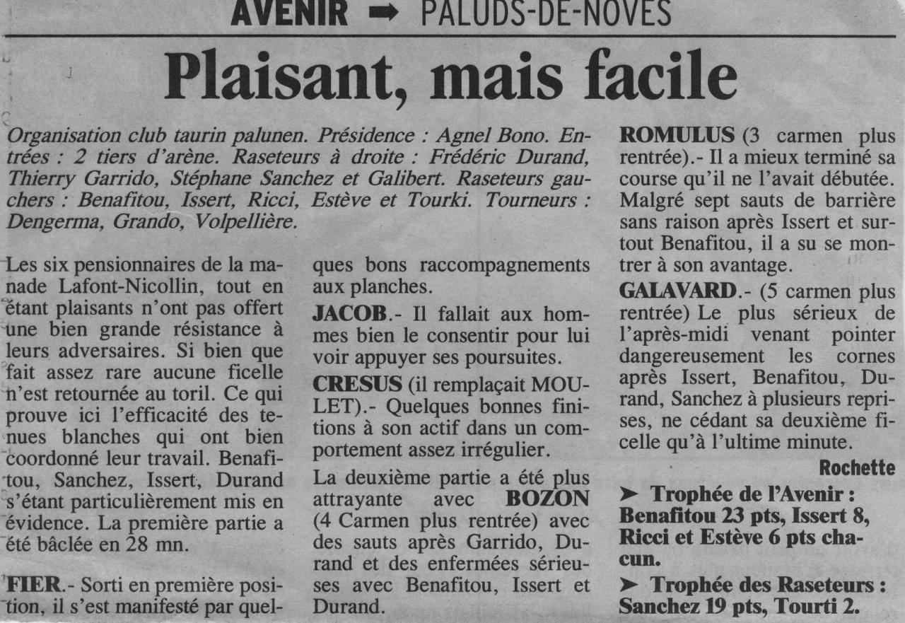 08 Avril 2001 ( La provence)