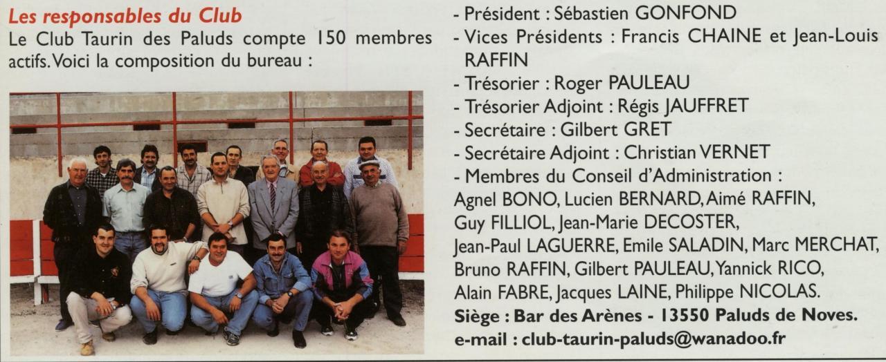 Bureau du club taurin en 2001