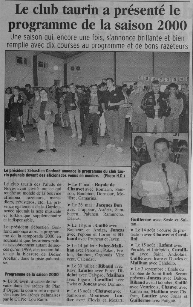 Presentation de la saison 2000.