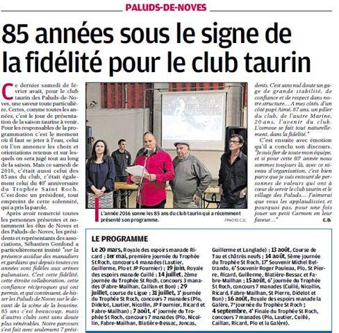 Présentation programme 2016 ( La Provence)