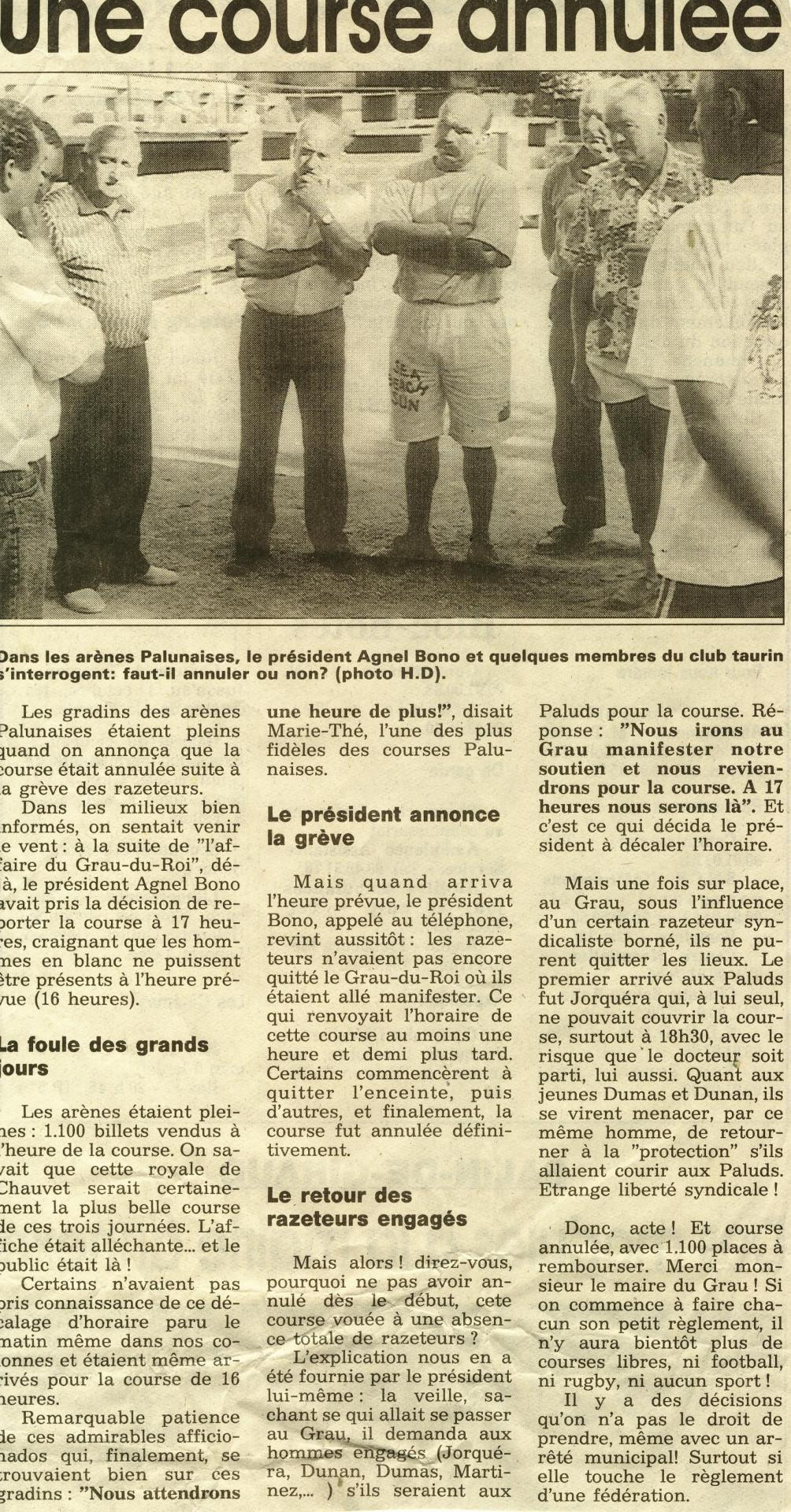 15 aout 1992 greve des raseteurs