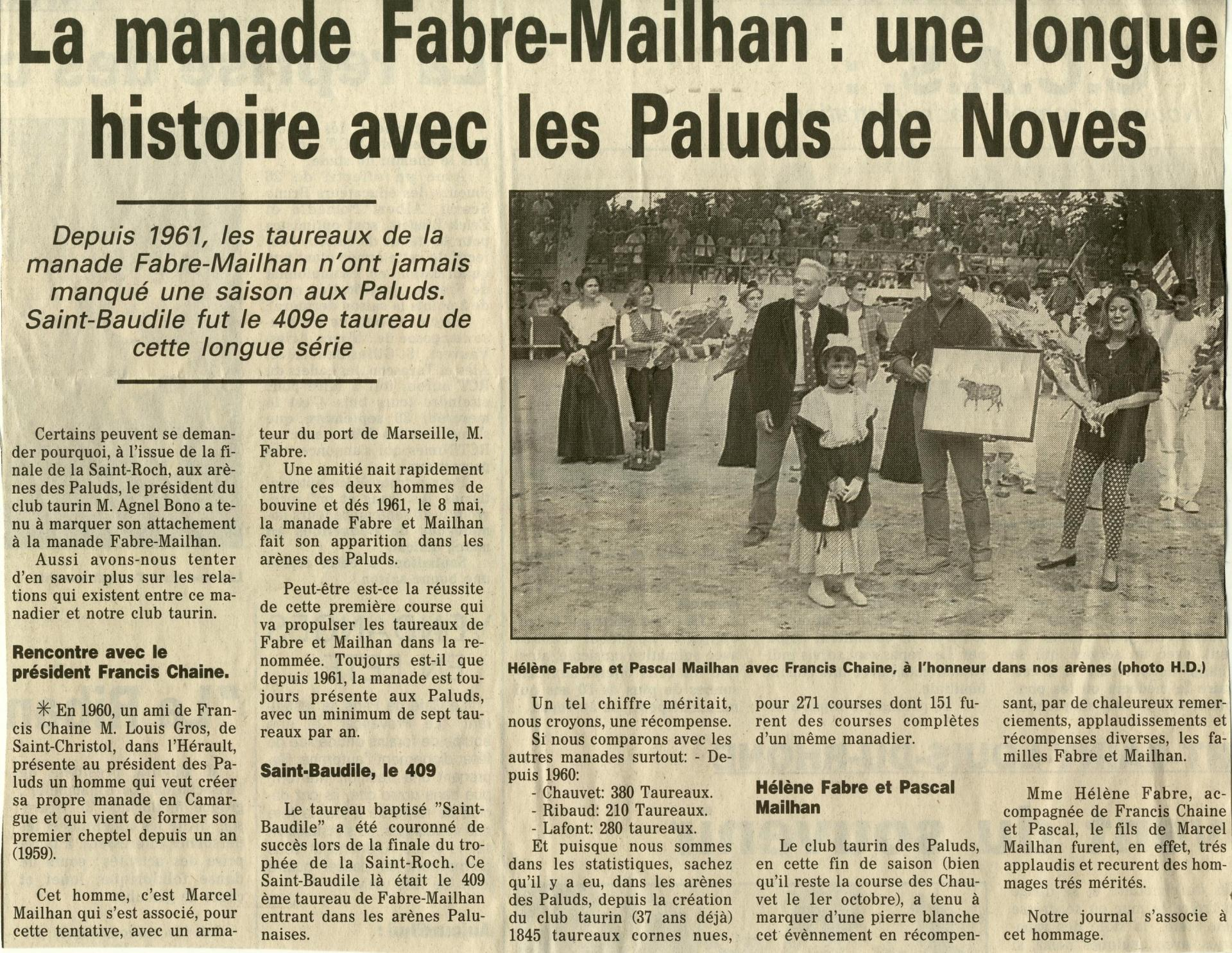 1991 hommage a mailhan 30 ans aux paluds