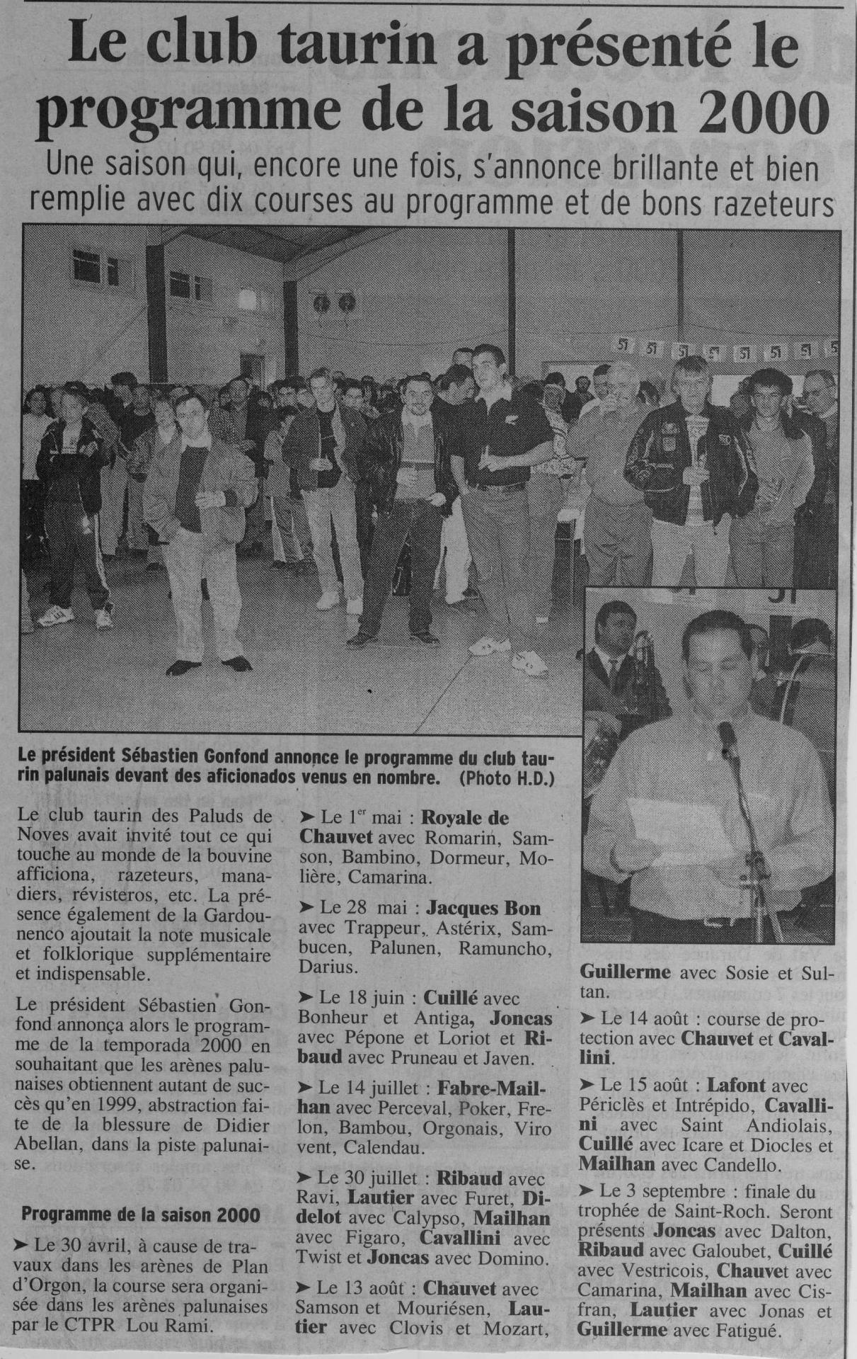 Presentation de la saison 2000